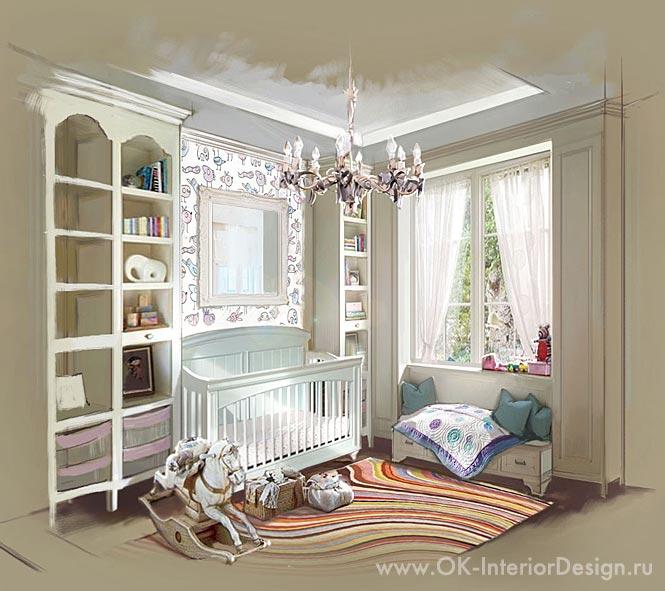 Интерьер детской комнаты в пастельных тонах