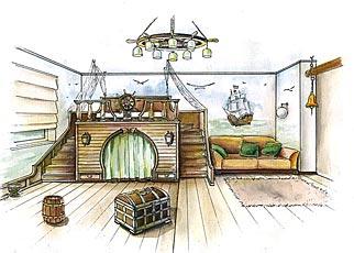 Дизайн детской комнаты. Разделение спальной и игровой зоны