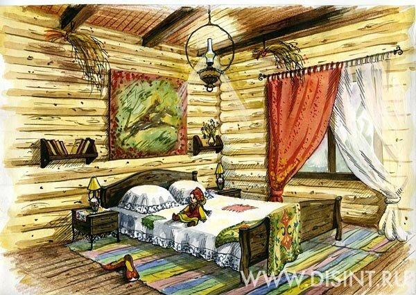 Дизайн спальни в стиле Русского кантри.