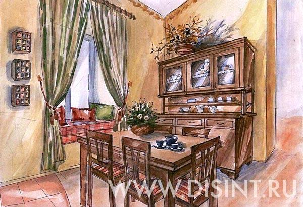 Дизайн интерьера кухни в стиле Русского кантри