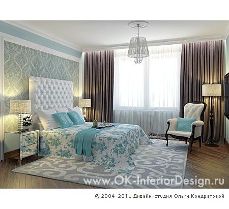 Бирюзовая спальня с элементами ар-деко.