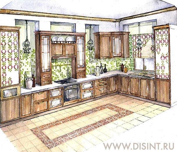 Дизайн интерьера кухни в стиле Средиземноморского кантри