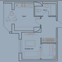 Однокомнатная квартира. Пример планировки