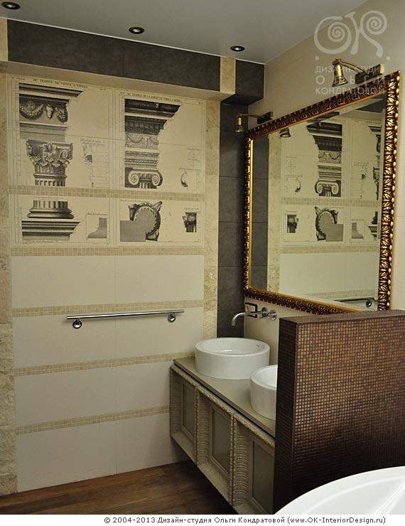 Дизайн современной ванной в античном стиле