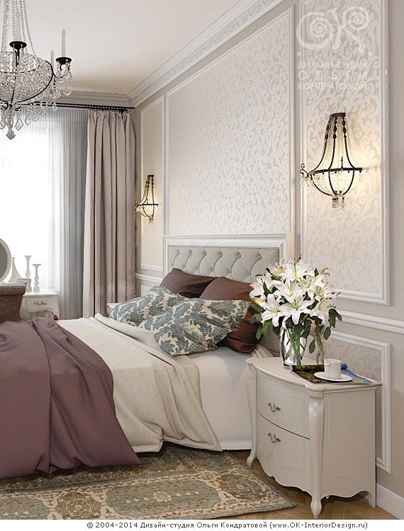 Дизайн спальни с элементами ампира и неоклассики
