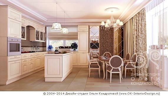 Дизайн гостиной и кухни столовой в