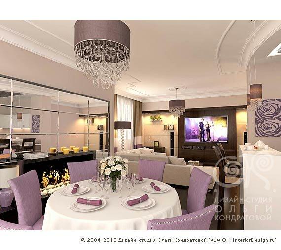 Дизайн совместной кухни и гостиной