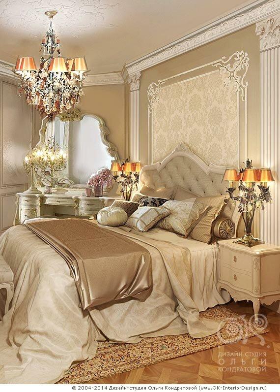 Декор прикроватной зоны неоклассической спальни