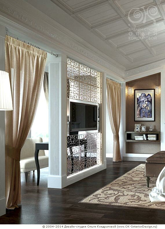 Декор телевизионной зоны в спальне