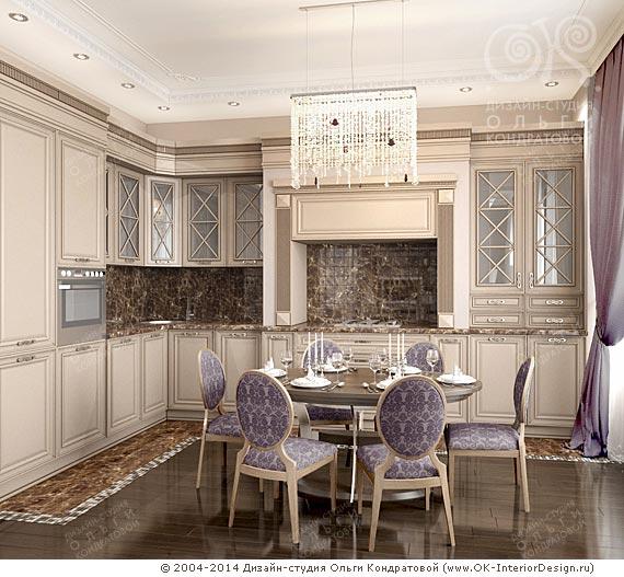 Лавандовая кухня в стиле ар-део