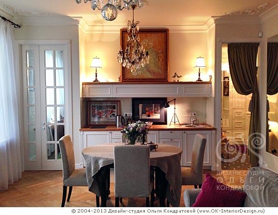 Вид на кухню из зоны гостиной