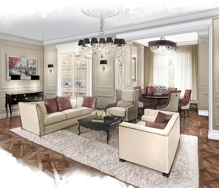 Интерьер гостиной от студии Ольги Кондратовой