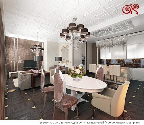 3 зоны интерьера гостной - столовая, диванная и кухонная