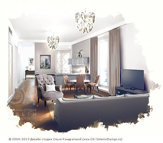Гостиная в квартире на Гончарной