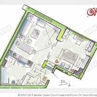 Эскиз планировочного решения для интерьера в стиле лофт