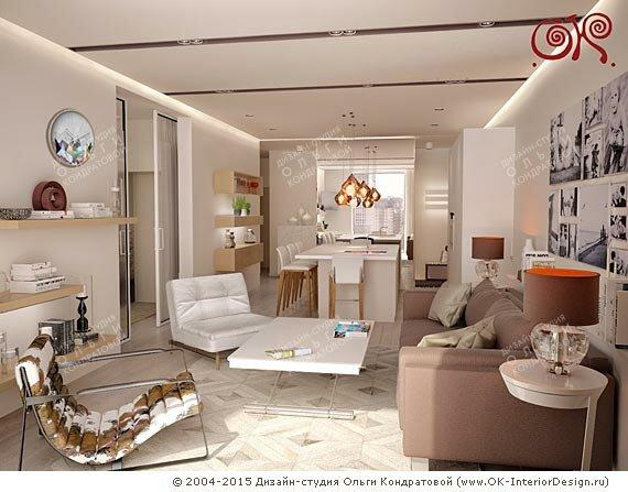 Фото интерьеров гостиной с кухней