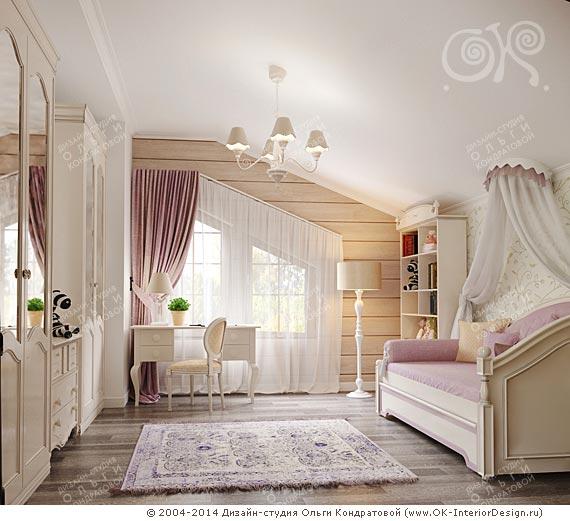 Дизайн детской комнаты для девочки 10 лет в доме из бруса