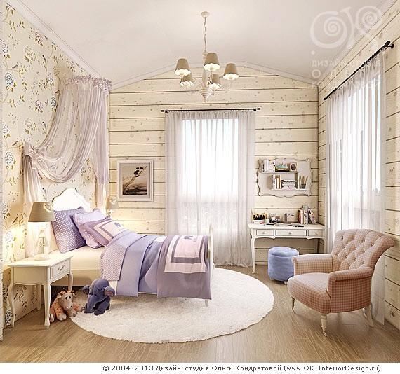 Дизайн детской в доме из клееного бруса