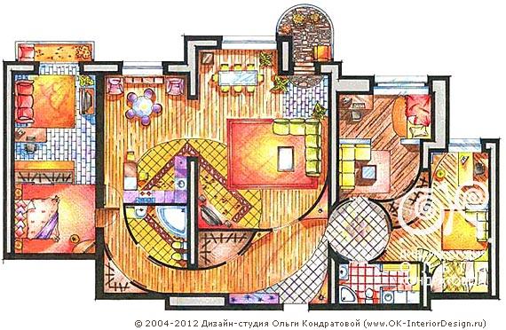 Проектирование интерьера квартиры свободной планировки