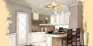 Дизайн интерьера кухни в бежево-коричневых тонах