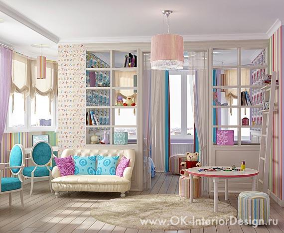 Дизайн просторной детской в пастельных тонах
