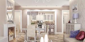 Дизайн кухни-гостиной в духе современной классики