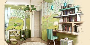 Дизайн детской комнаты в оливковых тонах