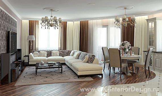 Дизайн гостиной-столовой в кофейных тонах