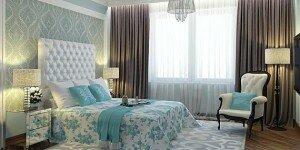 Интерьер бирюзовой спальни с элементами ар-деко