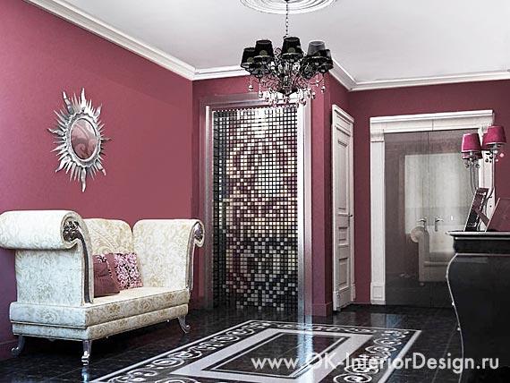 Дизайн интерьера бордовой прихожей в стиле ар-деко