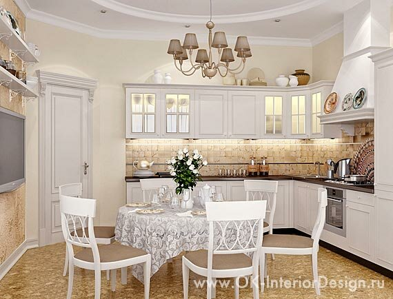 Кухни столовой в бело бежевых тонах