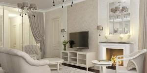 Интерьер классической бежевой гостиной с камином