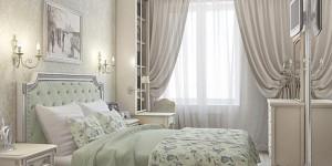 Интерьер спальни в нежных оттенках оливкового и бежевого