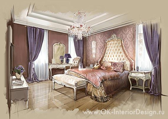 Классическая спальня во французском