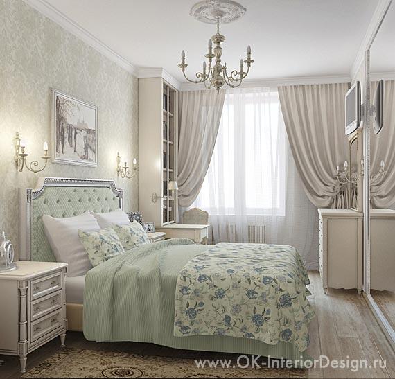 Классическая спальня в нежных оттенках оливкового и бежевого