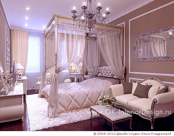 Интерьер классической спальни с балдахином