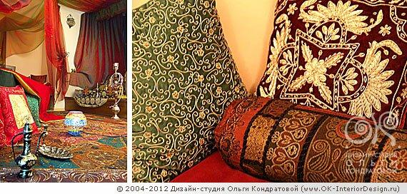 Элементы восточного декора - шифоновые занавесы, кальян, подушки