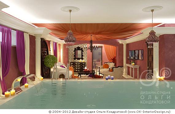Интерьер бассейна в восточном стиле