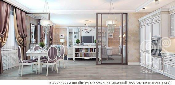 Кухня-столовая и гостиная в стиле современной классики