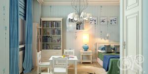 Интерьер просторной детской комнаты для мальчика