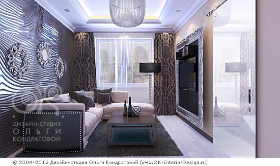 Дизайн интерьера небольшой гостиной в стиле ар-деко