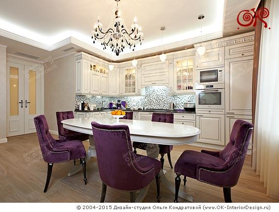 Готовый интерьер кухни-гостиной в квартире на Мытной
