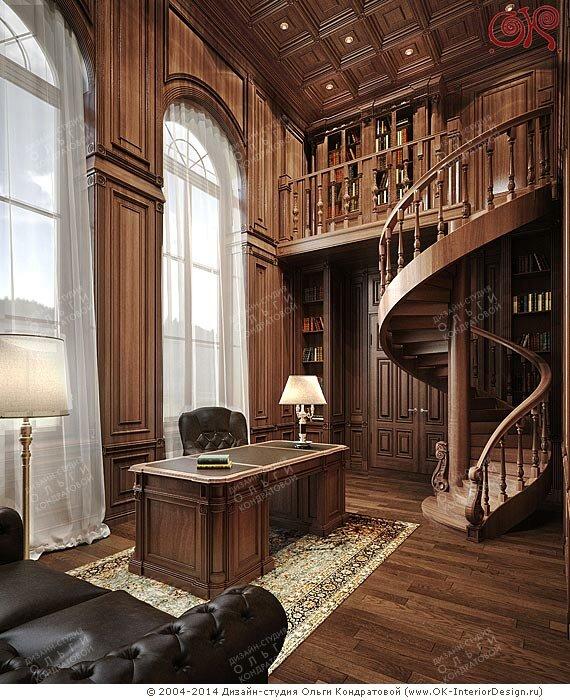 Дизайн кабинета с библиотекой