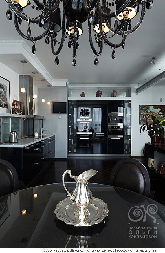 Дизайн черной глянцевой кухни
