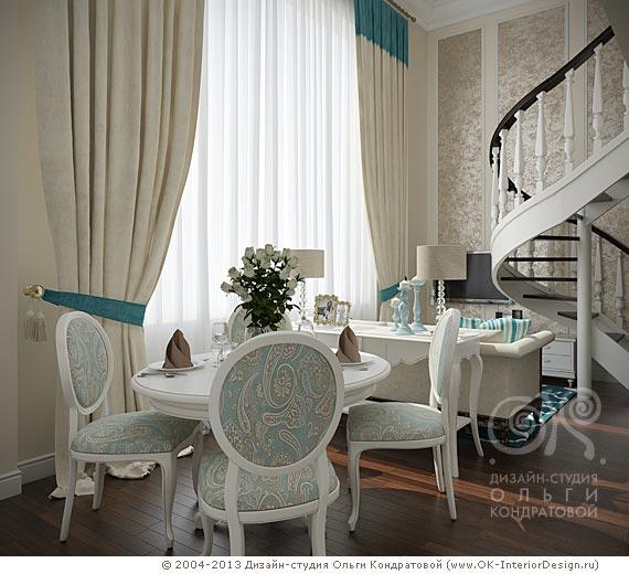 Дизайн интерьера гостиной-столовой в загородном доме