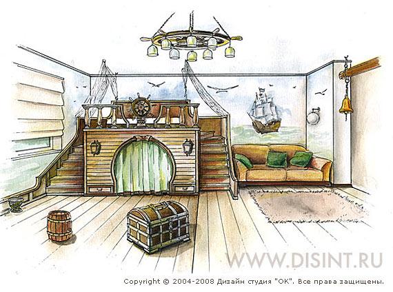 Рисунок морского интерьера детской комнаты для мальчика