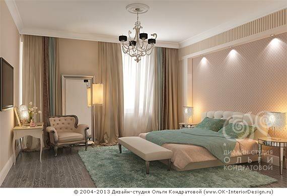 3D дизайн зеленой спальни