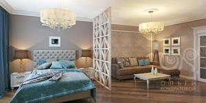 3D дизайн спальни-гостиной в маленькой квартире