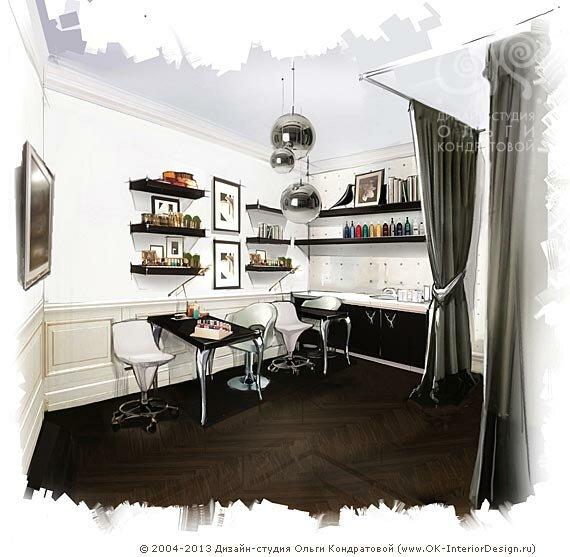 Интерьер черно-белого салона красоты с элементами ар-деко