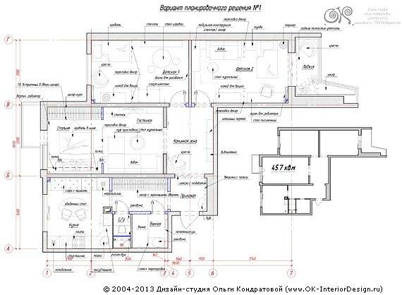 Вариант перепланировки квартиры №1
